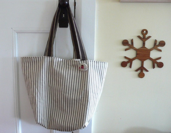 Market shopper/baby bag in Chocolate and cream ticking stripe