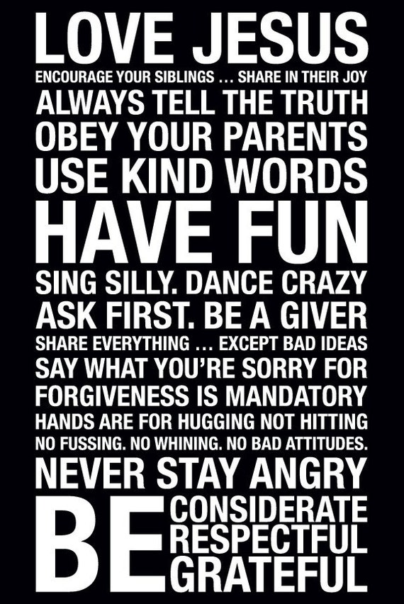 Family Rules Subway Art Print // Black and White // 20x30