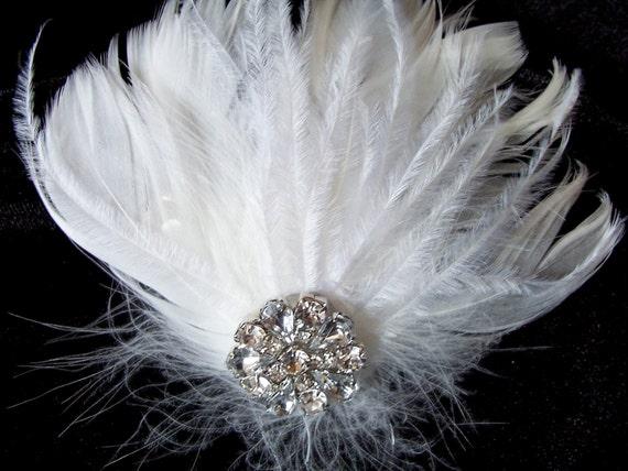 Ella - White Bridal Feather fascinator, Rhinestone Button, Ostrich Feathers, Bridal Wedding, Special Occasion