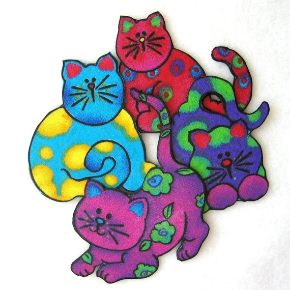 Four Whimsical Fabric Cat Magnets