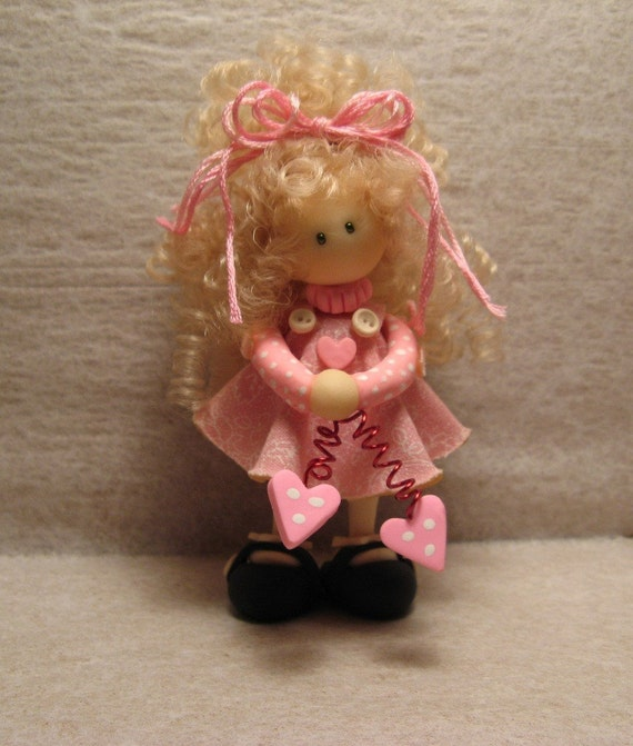 OOAK miniature doll - Pretty in Pink