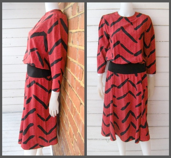 Vintage 80s Jonathan Martin Red and Black Avant Garde Dress