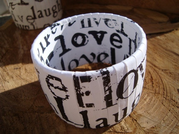 Live Love Laugh Bangle Bracelet (Black and White)