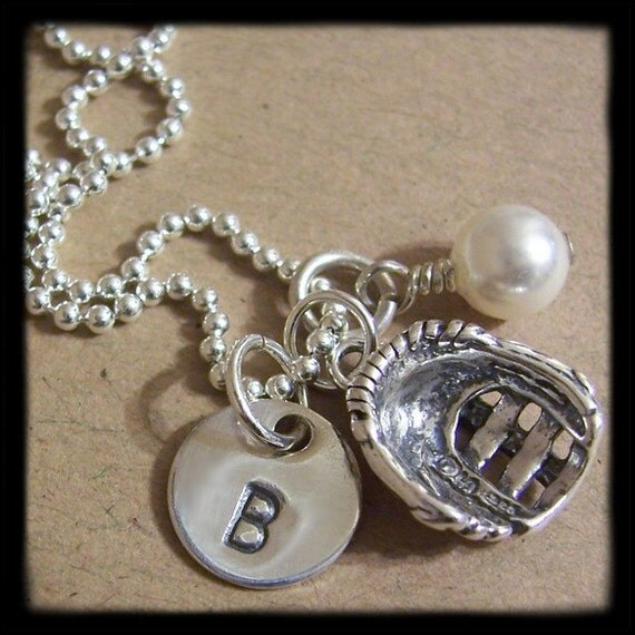Softball/Baseball Glove Charm, Initial Disc and Pearl/Birthstone Sterling Silver CONVERSATION Necklace - Hand Stamped
