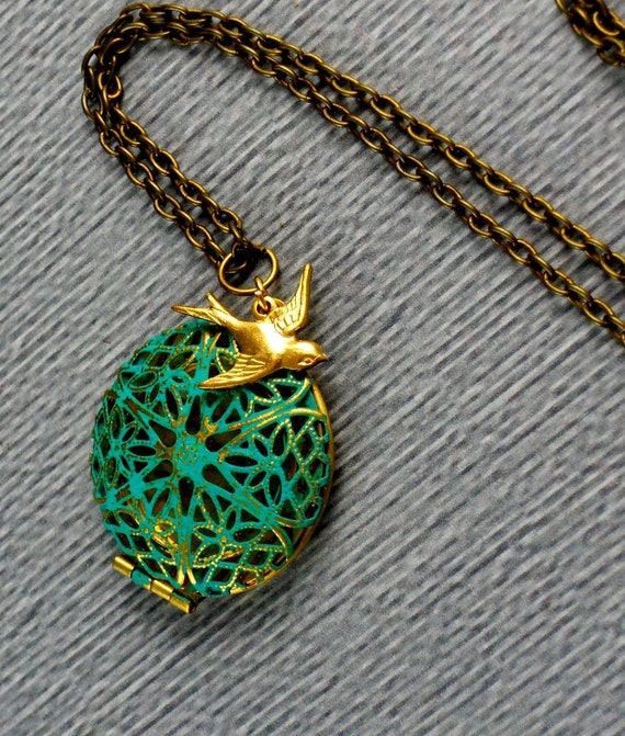 Free Shipping Hand Patina Locket with Ox over Brass Swallow Sparrow