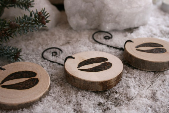 Reindeer Tracks - Set of 3 Ornaments - Woodburning