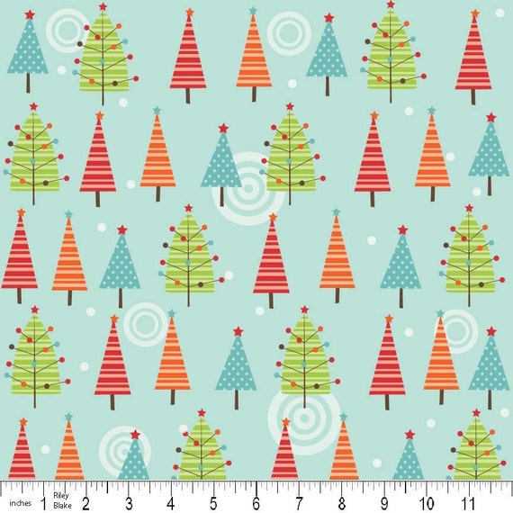 LAST ONE Colorful Christmas Fabric by Mind's Eye for Riley Blake, Trees in Blue- 1 Yard