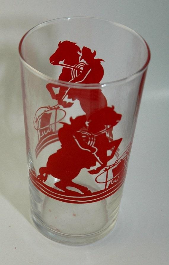Vintage Red Bucking Bronco Child's Drinking Glass