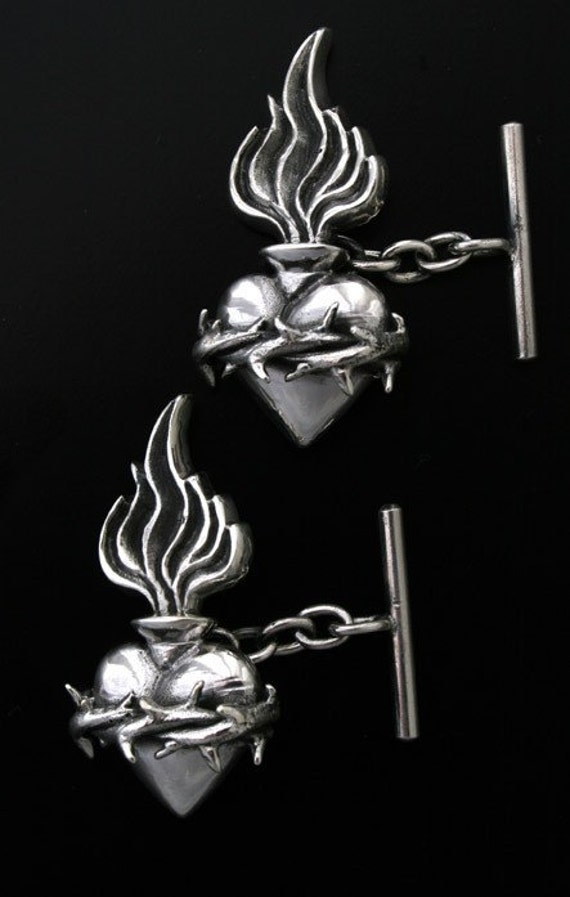 Sterling Silver Sacred Heart Cufflinks