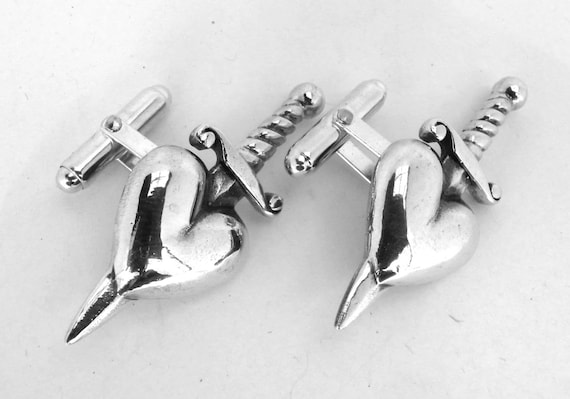 Sterling Silver Heart and Dagger Cufflinks