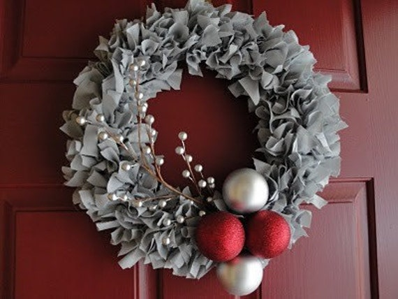 Gray Fabric Christmas Wreath with ornaments