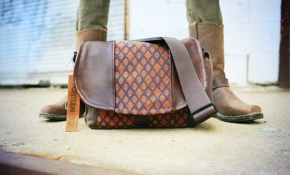 Pre-Order - New Design - Circles Tapestry and Leather DSLR Camera Bag