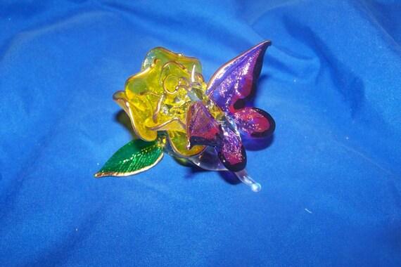 Butterfly on Rose Blossom Glass Art