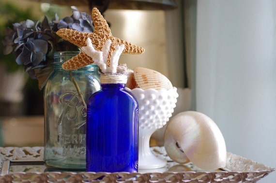 Vintage Cobalt Blue Hazel Atlas Bottle with Starfish, Coral and Seashell