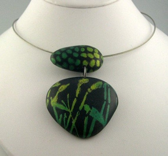 Polymer Clay Necklace, Painterly, Black, Greens