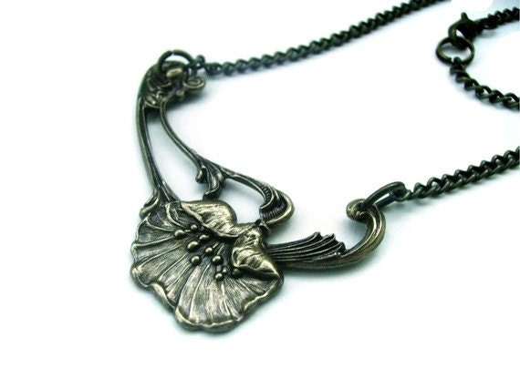 Antique Bronze Plated Poppy Necklace - THE POPPY FIELD - Art Nouveau
