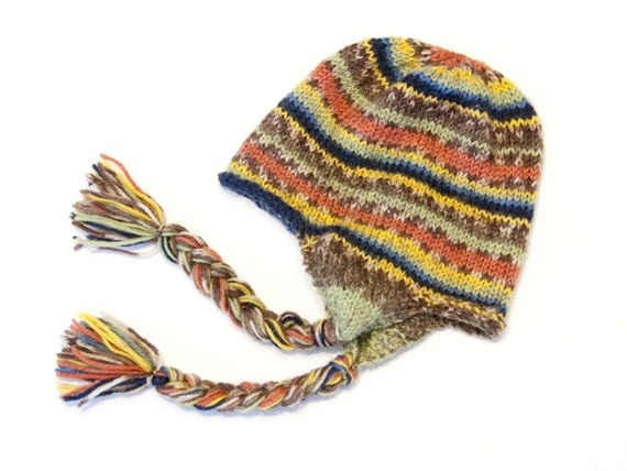 Teeny-Weeny  Beanie, Multicolored Stripe with Earflap