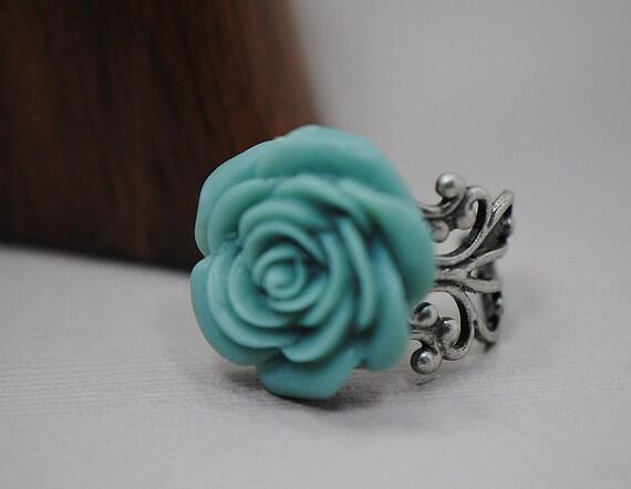 Cadet Blue Rose Filigree Antiqued Silver Adjustable Ring