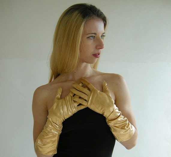 GLAM Gold Lame Vintage Ruched Gloves 75 by empressjade on Etsy from etsy.com