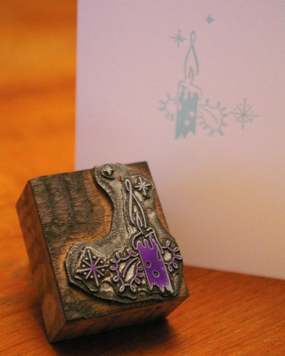 Holiday Note Card - Letterpress Candle