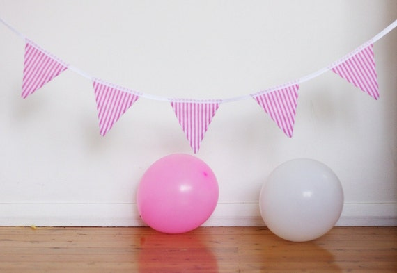Pink Candy Stripe Handmade Good Will Bunting in Small