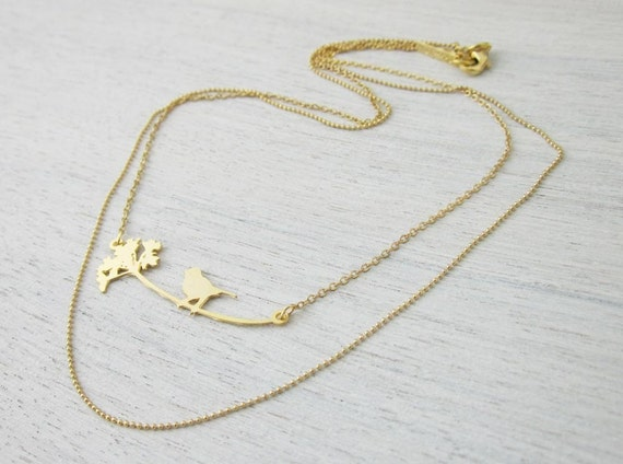 Bird and Dandelion Necklace in Gold- Large