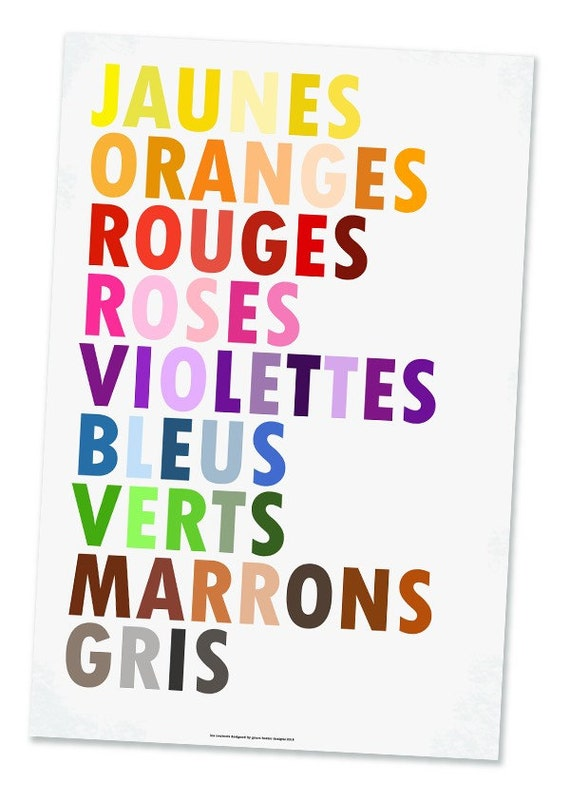 Colors in French Poster, Les Couleurs, Large 20 X 30
