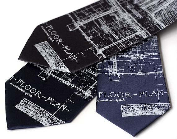 Cass Tech Detroit blueprint. Silkscreen microfiber tie.