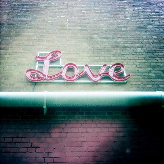 Love Sign Photography 4 x 4 Fine Art Photo Print Pink Green Urban Brick Wall