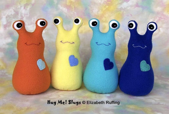 Name your own slug, Hug Me Slug, Original Art Toy by Elizabeth Ruffing, 12 inch, Fleece, Custom-made