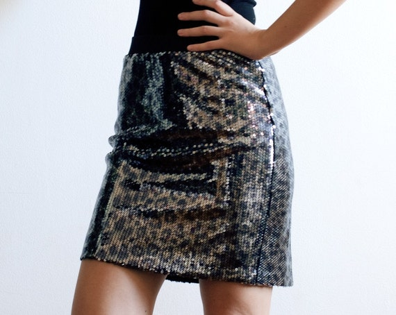 Animal Print Sequined Mini Skirt - Ready to Ship- S,L