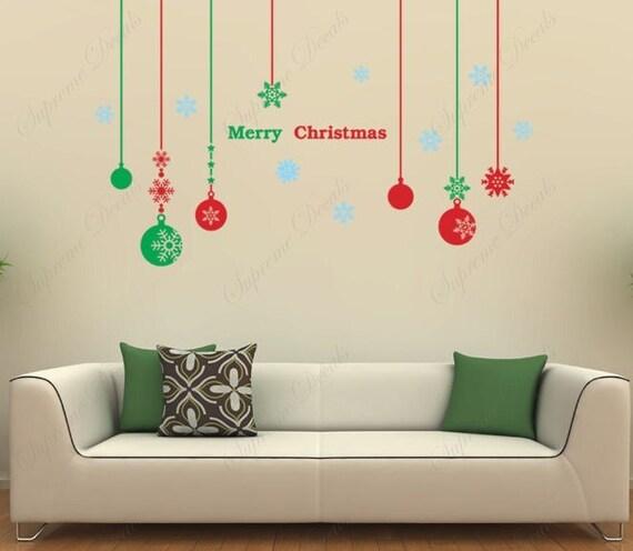 Christmas decals christmas balls vinyl wall art ebay for Christmas wall mural