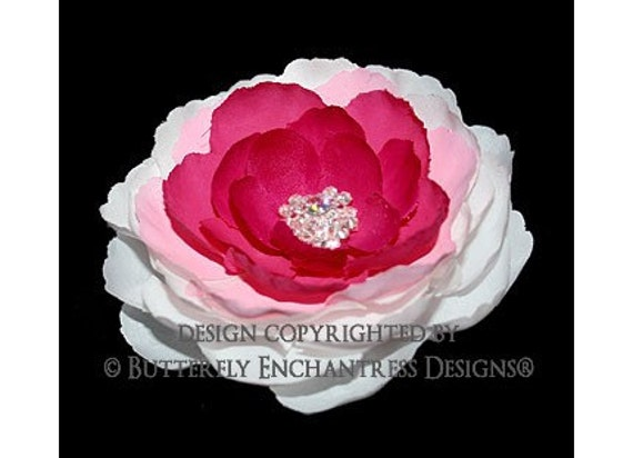 Cascading Pink Cypress Rose Flower Hair Clip