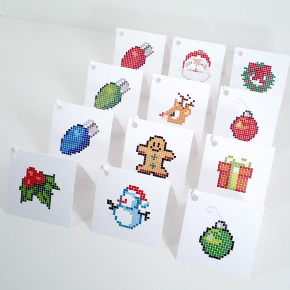 Pixel Holiday Gift Tags 12 by theRasilisk on Etsy