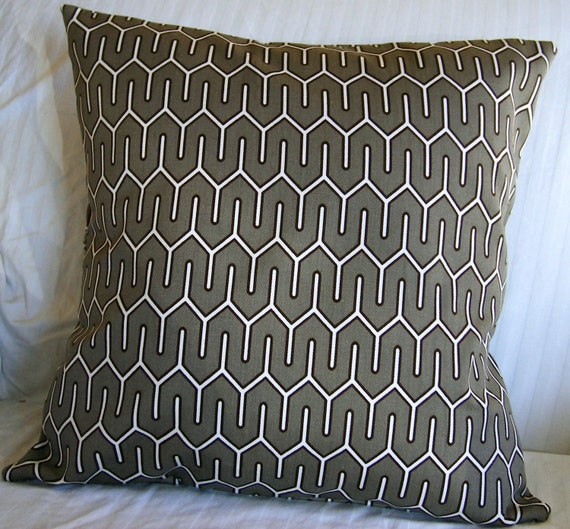 Pillow, Throw pillow cover, cushion cover, outdoor pillow 16x16 handmade with Designer Fabric Brown Charcoal Mocha Geometric