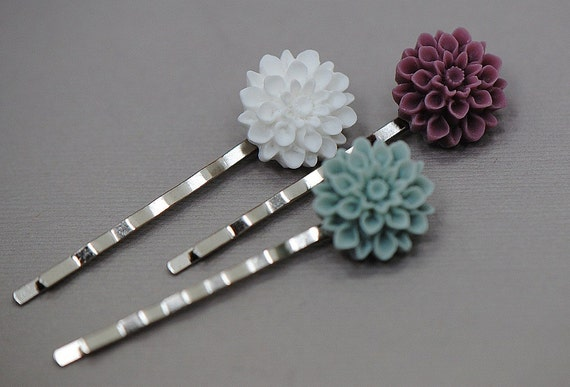 Mum Bobby Pin Hair Set - in White, Purple, and Light Blue
