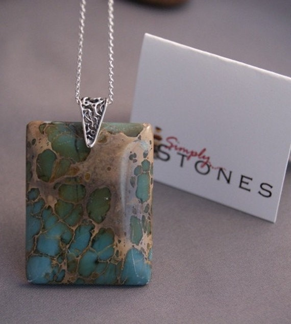 Turquoise Jasper Pendant Necklace by SimplyStonesJewelry on Etsy from etsy.com