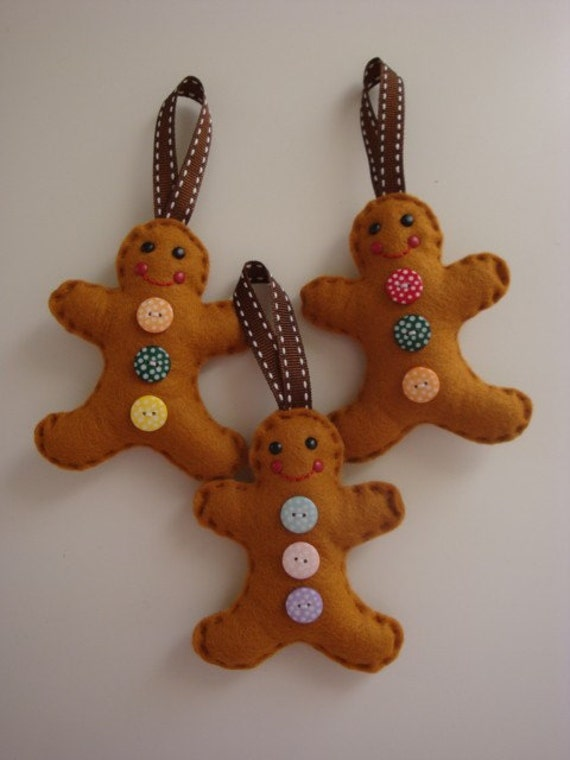 Felt Gingerbread Men Decoration Set