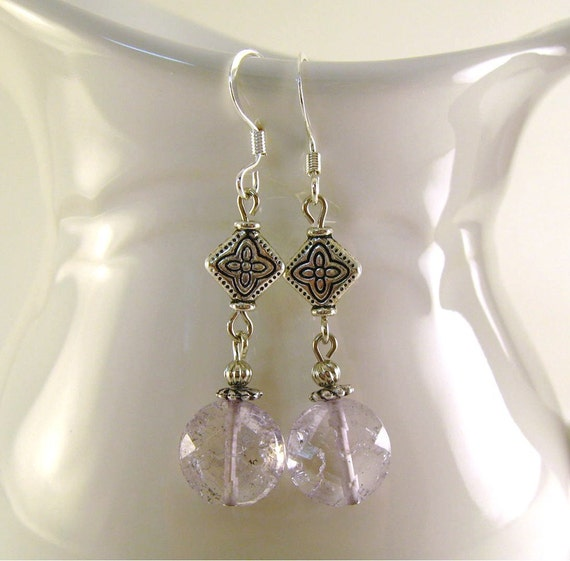 Earrings -- Clear Crackle Glass
