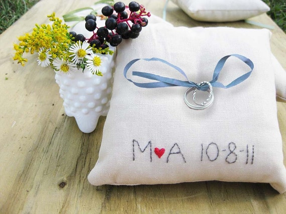 CUSTOM Ring Pillow with embroidered initials and wedding date