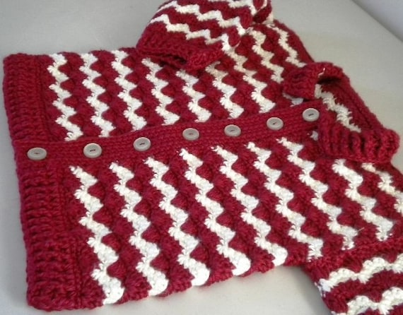Crochet baby sweater 2 t burgundy cream by kraftii1 craftjuice