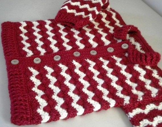 77d64f25b19e Crochet Baby Sweater 2 T Burgundy   Cream by Kraftii1