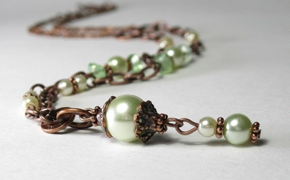 Vintage Style Peridot Pearl and Copper Necklace