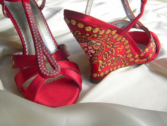 Wedding Shoes gold pearls Red Jeweled 1950 Old by norakaren Having a Themed