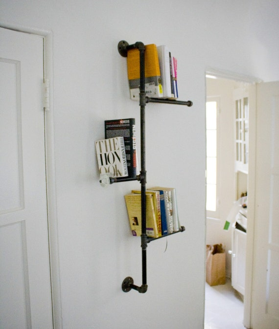 Industrial Pipe Bookshelf with Antique Knob