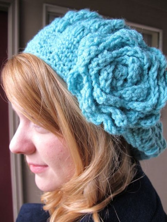 Penelope Slouchy Beret in Light Blue Free U.S. Shipping