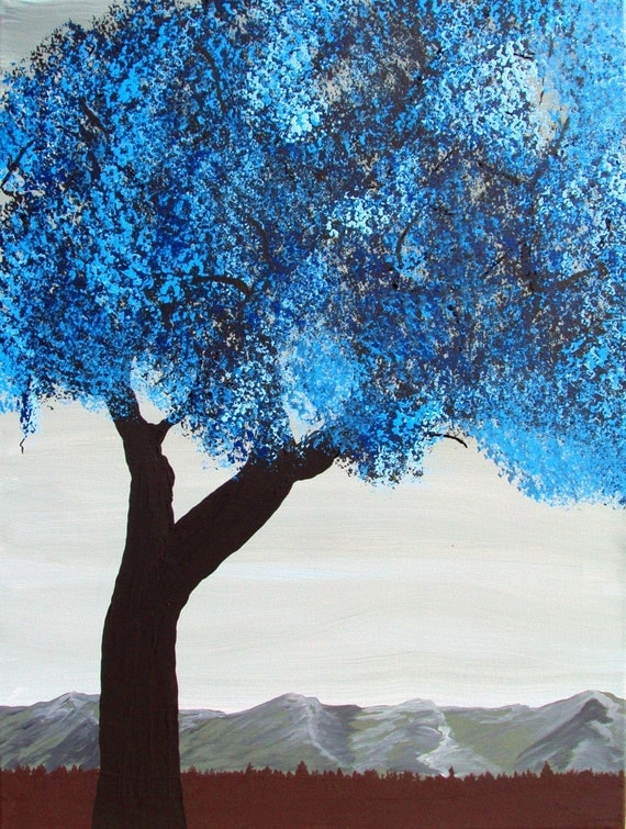 Free US Shipping - Winter Blues by Bryan Dubreuiel - Original Painting - Tree - 24 by 18