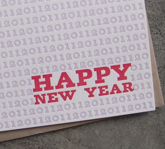 letterpressed happy new year card- set of 6