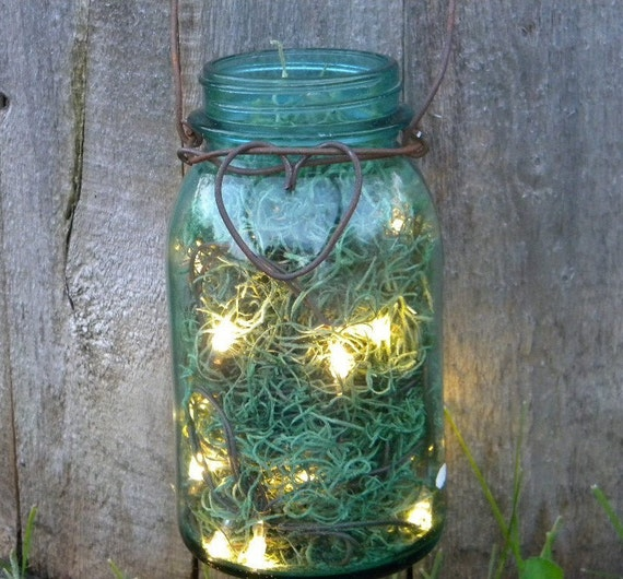 Rustic Heart Firefly Lantern Jar Woodland Spring Summer Wedding