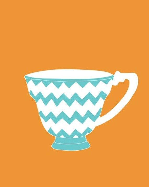 Chevron Pattern Teacup Modern Art Print 13 x 19 - different colors and sizes available